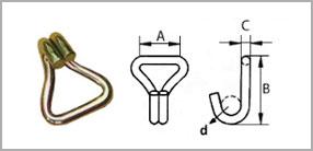 Стяжной ремень, рэтчет крюк J-образный